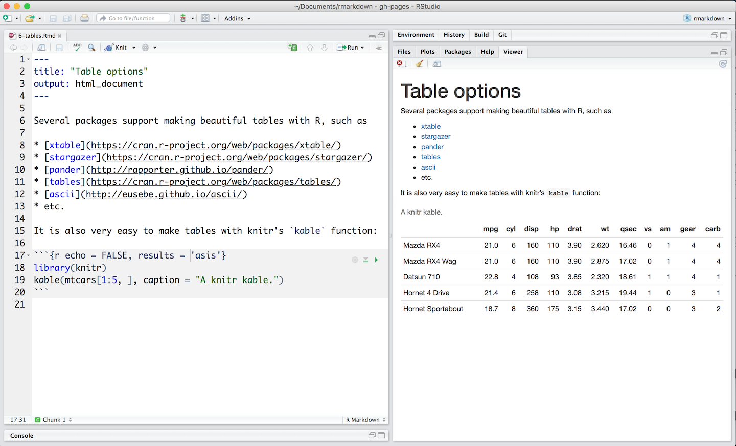 Tables for Table markdown